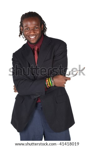 Handsome African businessman in colorful suit holding his glasses on white background. NOT ISOLATED