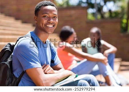 handsome african college boy portrait on campus - stock photo