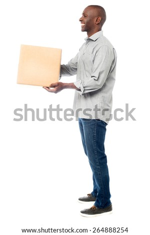 Handsome african man deliver the parcel - stock photo