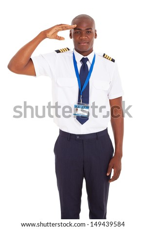 handsome airline african pilot saluting over white background - stock photo