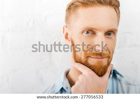 Handsome and confident. Close-up of bearded man holding hand on chin and looking at camera while standing against brick wall