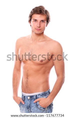 Handsome and sexy young man with naked torso isolated on a white - stock photo