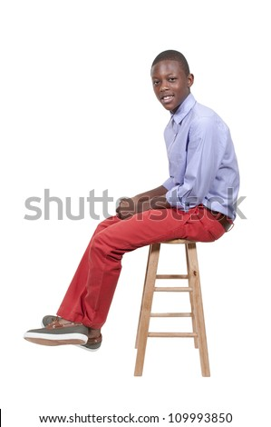 Handsome and young black African American stylish teenage boy - stock photo