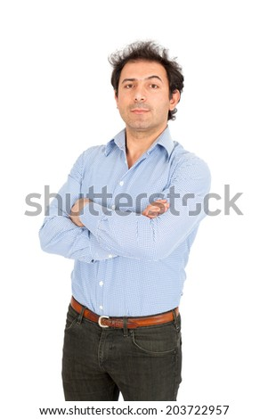 Handsome arabic man doing different expressions in different sets of clothes: arms crossed