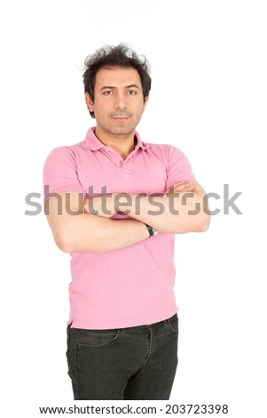 Handsome arabic man doing different expressions in different sets of clothes: arms raised