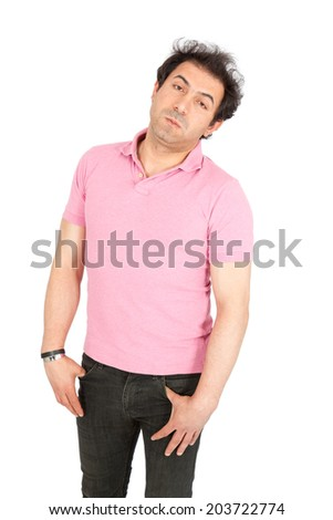 Handsome arabic man doing different expressions in different sets of clothes: bored