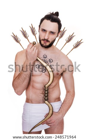 Handsome archer. Cupid, Valentine, Antiquity. Studio portrait isolated over white background - stock photo