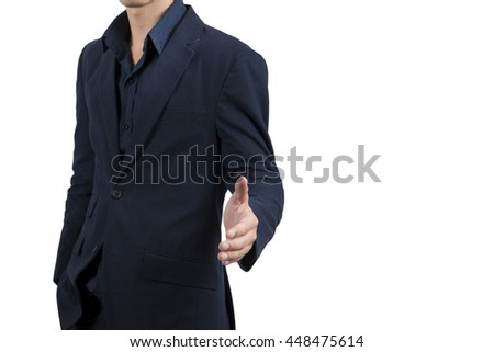 Handsome asian businessman in blue suit isolate on white background
