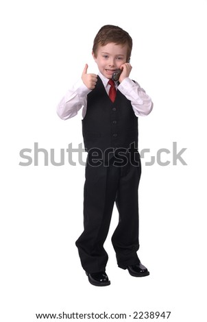 handsome attractive young boy dressed in suit with cell phone in hand, makes his point! on white background.