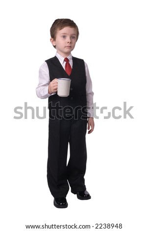 handsome attractive young boy dressed in suit with coffee in hand, that boy is awake! on white background.