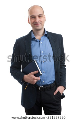 handsome bald businessman with book isolated on white - stock photo