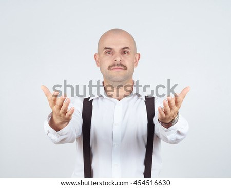 Handsome bald man ready to hug you, isolated on background - stock photo