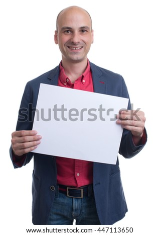 handsome bald man showing blank signboard. Isolated on white background