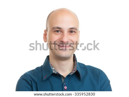 handsome bald man smiling isolated on white background - stock photo
