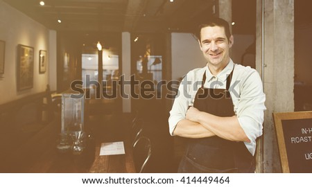 Handsome Barista Coffee Shop Smiling Concept - stock photo