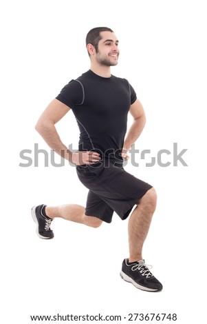 handsome bearded arabic man in sportswear warming before training isolated on white background - stock photo