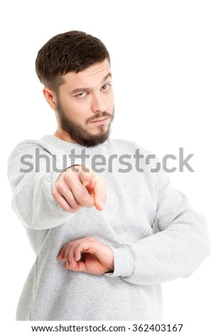 Handsome bearded man on white isolated on white background