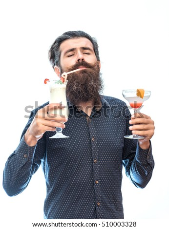 handsome bearded man with stylish hair mustache and long beard on satisfied face holding glass of nonalcoholic cocktails isolated on white