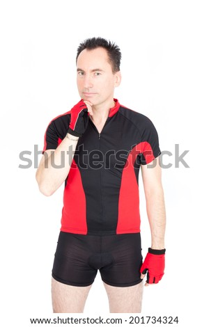 Handsome biker doing different expressions in different sets of clothes: thinking - stock photo