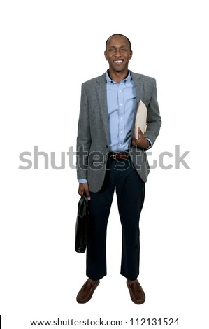 Handsome black African American business man with manila folders full of documents