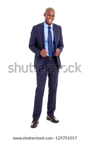 handsome black businessman in suit isolated on white