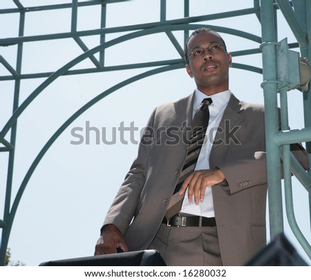 Handsome Black Businessman Outdoors With Eyeglasses