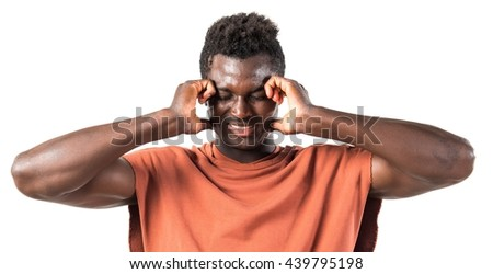 Handsome black man covering his ears
