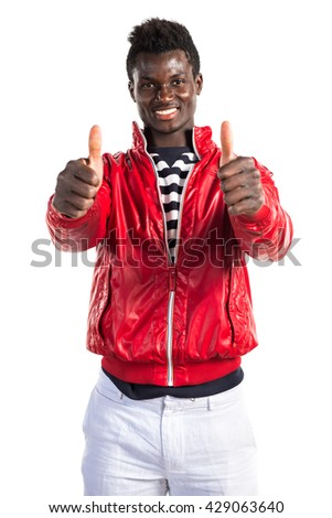 Handsome black man with thumb up