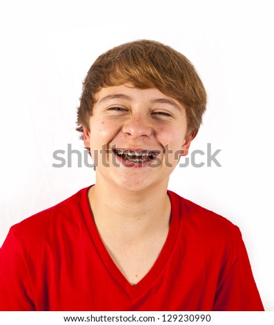 handsome boy  in the studio - stock photo