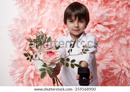 Little boy propose love stock images royalty free images - Boy propose girl with rose image ...