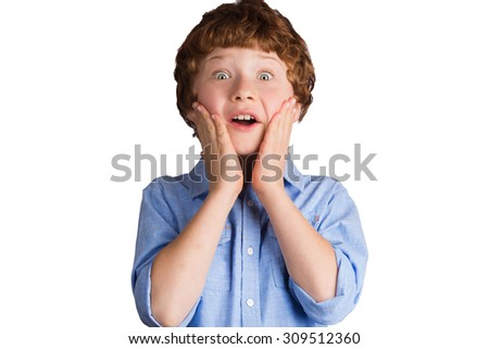 Handsome boy with surprised facial expression putting his hands on his cheeks. Isolated on white background - stock photo