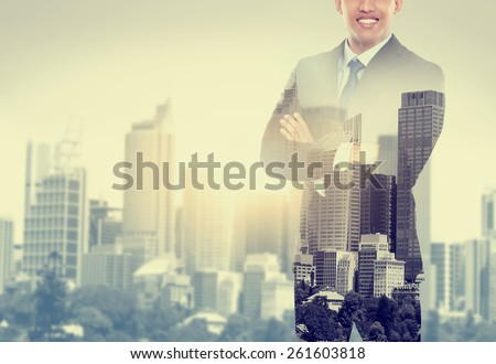 handsome business man double exposure concept of businessman and city - stock photo