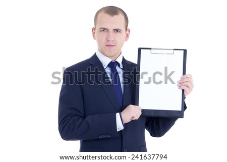 handsome business man in suit with blank clipboard isolated on white background - stock photo