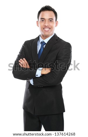 handsome business man isolated on white background. - stock photo