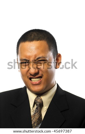 Handsome business man making funny face isolated on white background - stock photo