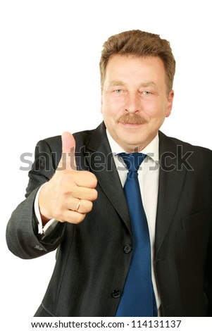 Handsome business man showing ok sign , isolated  on white background