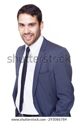 Handsome business man standing on white background