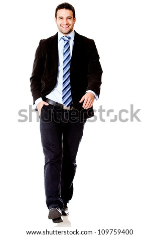 Handsome business man walking - isolated over a white background - stock photo