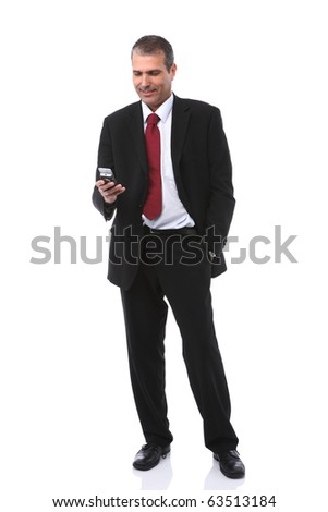 handsome businessman calling on mobile phone