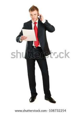handsome businessman calling on mobile phone isolated on white background