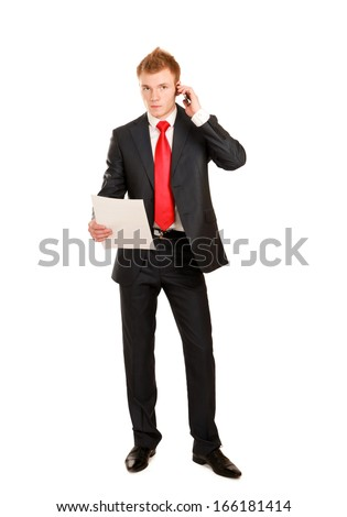 handsome businessman calling on mobile phone isolated on white background - stock photo
