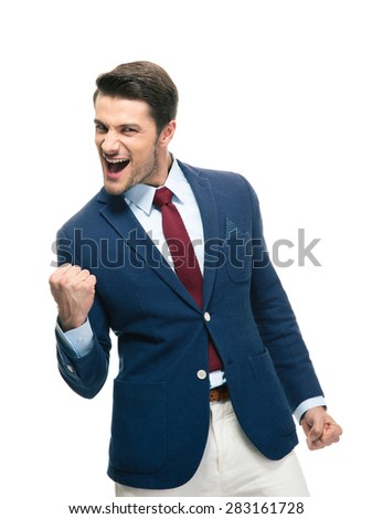 Handsome businessman celebrating his success isolated on a white background. Looking at camera - stock photo