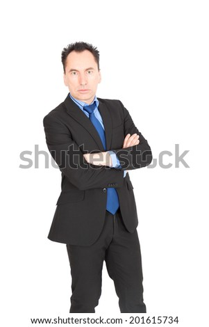 Handsome businessman doing different expressions in different sets of clothes: arms crossed - stock photo