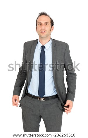 Handsome businessman doing different expressions in different sets of clothes: empty pockets