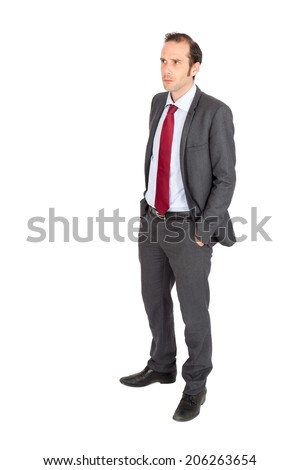 Handsome businessman doing different expressions in different sets of clothes: posing