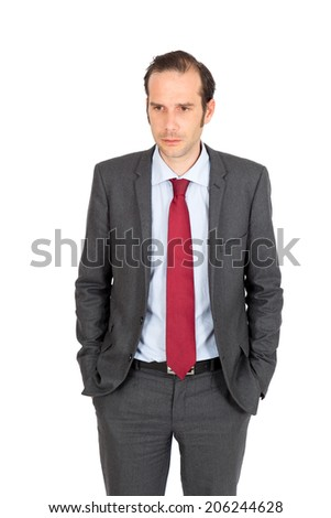 Handsome businessman doing different expressions in different sets of clothes: sad - stock photo