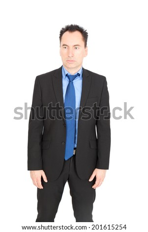 Handsome businessman doing different expressions in different sets of clothes: sadness - stock photo