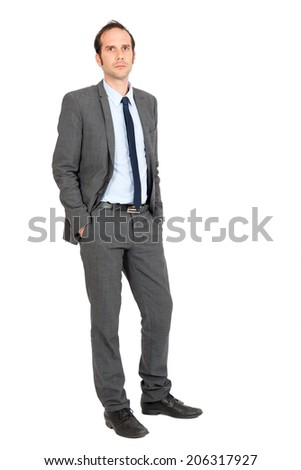 Handsome businessman doing different expressions in different sets of clothes: standing up