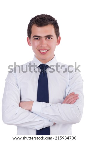 Handsome businessman isolated on the white