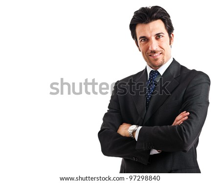 Handsome businessman isolated on white - stock photo